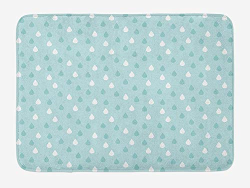 ERCGY Pale Blue Bath Mat, Separate Droplets Motif in Precipitation Drizzle Sky Image, Plush Bathroom Decor Mat with Non Slip Backing, 23.6 W X 15.7 W Inches, Blue White -