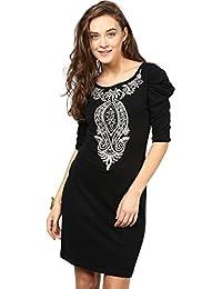 Taurus Women's Jersey Black Puffed Up Dress