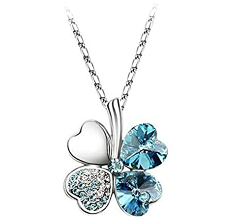 Domire Sky Blue Lucky Four Leaf Clover crystal Pendant Neacklace