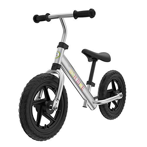 Balance Bike Bici Senza Pedali, Manubri Morbidi Pneumatici Migliorati Auto A Pedalata Senza Pedali per Bambini di 2-5 Anni,Silver
