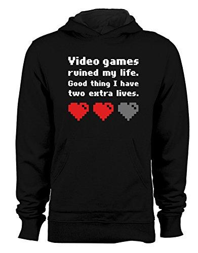 Felpa con cappuccio Videogames ruined my life- 2 vite extra - 2 extra lives - Tutte le taglie Nero