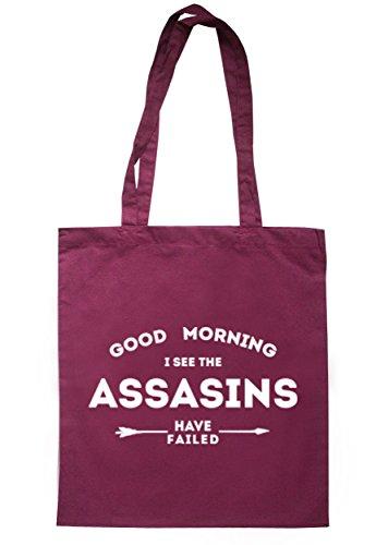 breadandbutterthreads Good Morning I See the Assasins hanno fallito Borsa 37,5cm x 42cm con manici lunghi Maroon