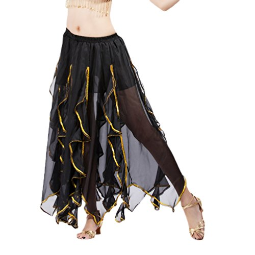 YuanDian Damen Chiffon Lang Bauchtanz Rock Lotus Blätter Gold Draht Seiten Elastische Taille Professionelle Arabische Oriental Belly Dance Performance Perspektive Röcke Kostüm Schwarz (Oriental Belly Dance)