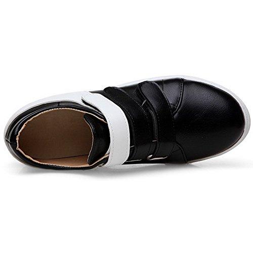 AllhqFashion Femme Pu Cuir à Talon Correct Rond Couleurs Mélangées Velcro Chaussures Légeres Noir