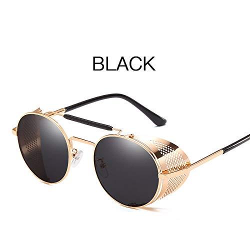 Preisvergleich Produktbild Sonnenbrille Runde Designer Steam Punk Metal Shields Sonnenbrille Männer Frauen UV400 Gafas De Sol (Lenses Color : 1)