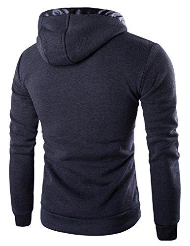 Boom Fashion Herren Kapuzenpullover Langarm slim fit Jacke Kapuze Hoodie Sweatshirt Grau 1