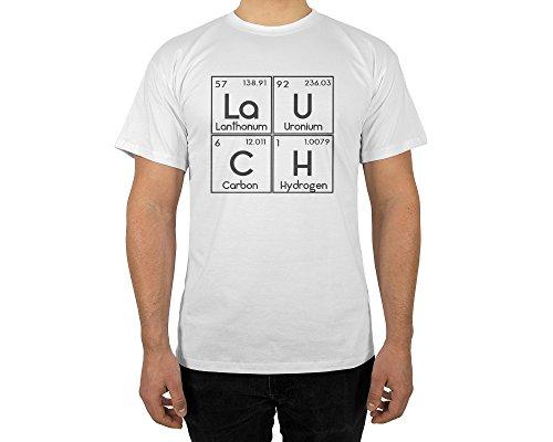 Männer T-Shirt mit Aufdruck in Weiß Gr. L Lauch Chemie Gang Design Boy Top Jungs Shirt Herren Basic 100% Baumwolle Kurzarm