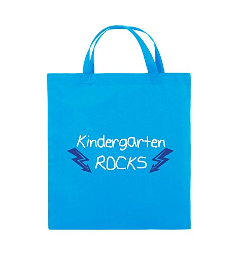 Comedy Bags - Kindergarten rocks - BLITZE - Jutebeutel - kurze Henkel - 38x42cm - Farbe: Schwarz / Weiss-Neongrün Hellblau / Weiss-Royalblau