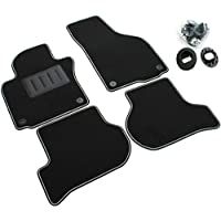 Il Tappeto Auto SPRINT04104 Black Car Mats, Anti-Slip, Two Tone Trim, Rubber Heel Protectors