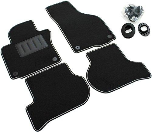 Il Tappeto Auto, SPRINT04104, schwarze Auto-Fußmatten, rutschfest, zweifarbiger Rand, Absatzschoner aus Gummi