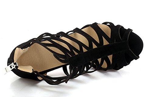 YE Damen High Heels Gladiator Cut Out Sandalen Plateau Offen mit 10cm Absatz Sommer Schuhe Schwarz