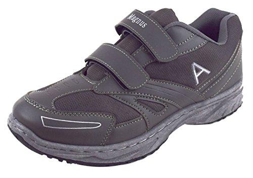 Herren Freizeit/Sportschuhe Trekking Schuhe Wanderschuhe Halbschuhe Sneaker, Klettverschluss Grau Gr. 40-46 (44) (Walking Schuhe Sneaker)
