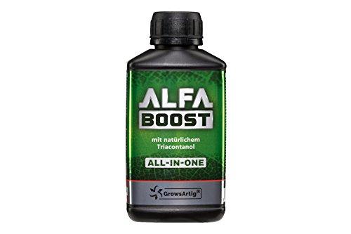 Growsartig Alfa Boost All-in-One Pflanzen-Booster mit Triacontanol 0,25 Liter. Für Blüte, Wachstum und Bewurzelung. Steigert Den Ertrag. Biozertifiziert, 100{23c29833a1b5b8fb96daf4c1c88902c8deff5b41f3d24aee0f1404f32732ce09} Organisch und Vegan.