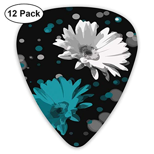 Black White Teal Daisy Flowers 351 Shape Classic Celluloid Guitar Pick For Electric Acoustic Mandolin Bass (12 Count) -