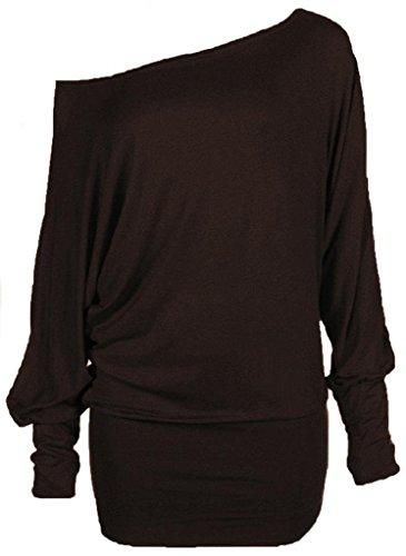 Momo Fashions- Womens Batwing Top Plain Long Sleeve weg von der Schulter -große Größen -T-Shirt Top 44-54 PLUS SIZE (52-54 XXXL, Schwarz) (Größe Plus T-shirts Womens)