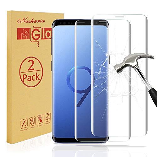 Preisvergleich Produktbild [2 Stück] Galaxy S9 Schutzfolie Displayschutz, Nasharia 9H Härtegrad, 99% Transparenz Full HD, Anti-Fingerabdruck Hohe Qualität Gehärtetem Glass, Anti-Kratzer Displayschutzfolie Für Samsung Galaxy S9