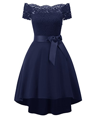 Laorchid Vintage Damen Kleid Spitzenkleid Off Schulter Cocktail Knielang A-Linie Navy XL A-linie Cocktail-kleid