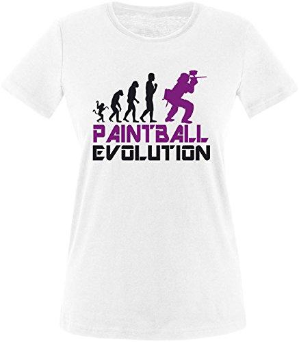 EZYshirt® Paintball Evolution Damen Rundhals T-Shirt Weiss/Schwarz/Violett