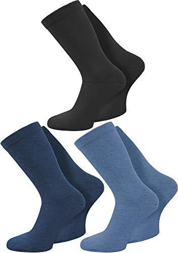 Circle Five 6 Paar Gesundheitssocken extra breiter Komfortbund für Problemfüße Farbe Jeansblau/Mittelblau/Schwarz Größe 43/46