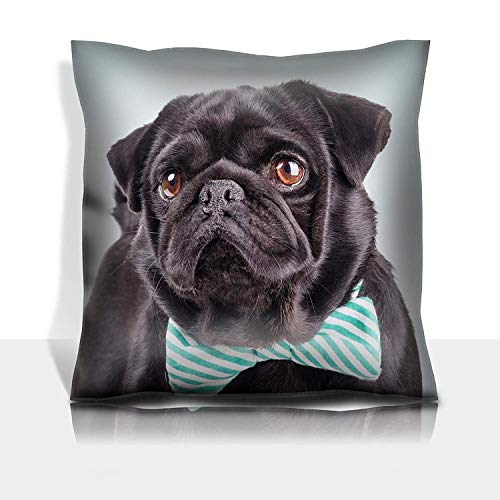 MSGDF Throw Pillowcase Cotton Satin Comfortable Decorative Soft Pillow Covers Protector Sofa 18x18 1 Pack Studio Shot of The Black Pug with a tie on Green ()