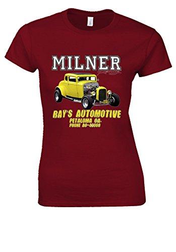 Milner's '32 Deuce Coupe American Graffiti Hot Rod Cherry Red Women T Shirt Top-XXL (Hot Cherry Red)