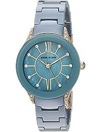 Anne Klein Women's AK/2388BLGB Swarovski Crystal Accented Gold-Tone And Blue Ceramic Bracelet Watch