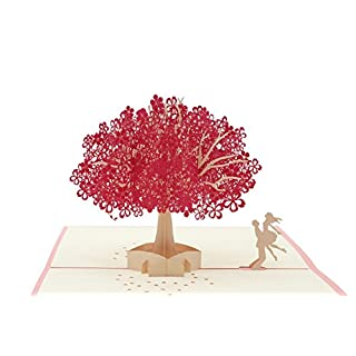 A-Lighting 3D Pop up Greeting Cards for Anniversary, Birthday,Wedding,Fathers Day etc (Red)
