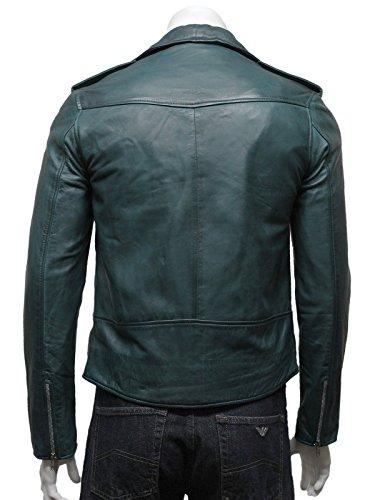Brandslock Herren klassische Tasche mit Reißverschluss Bikerjacke aus Leder in Teal Teal