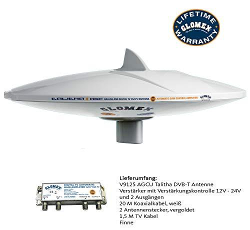 Glomex Marine TV Antenne Talitha V9125/12 für terrestrischen Empfang von für analog & digital TV DVB-T 360° Empfang 40/ 890 mhz, 2,2db, 75 Ohm omnidirektional auf Boot Schiff Yacht V9125 / AGCU Digitale Antenne Marine
