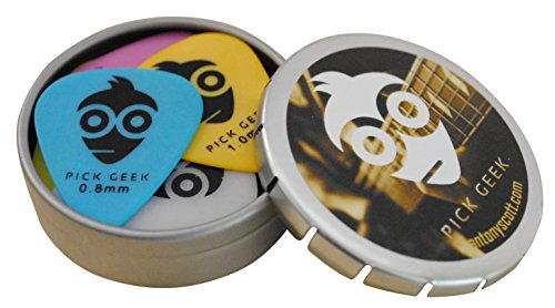Pick Geek Delrin (Tortex) Pick Set -16 Cool Custom Guitar Picks (Plectrums) for Your Electric, Acoustic, or Bass Guitar - Thin (Light), Medium, Heavy amp; Extra Heavy, Presented in a Luxury, Uniquely