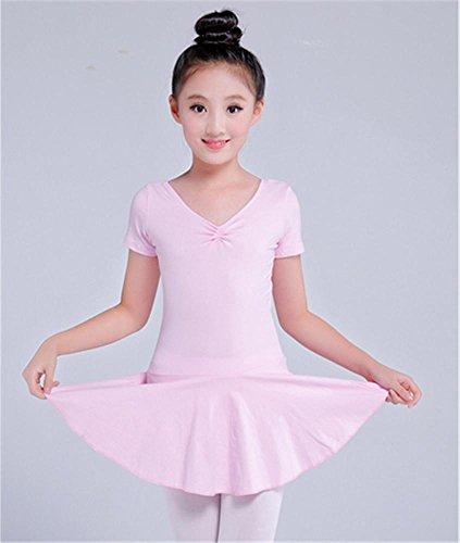 Leotard d'entraînement de ballet pour enfants confortable / manches longues / manches courtes Pink