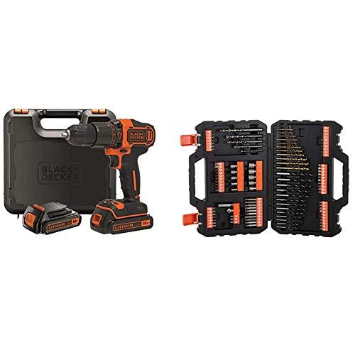 """BLACK+DECKER BDCHD18KB-QW - Taladro percutor 18V, 40 Nm, con 2 baterías litio 18V (1.5Ah) y maletín & A7200-XJ - Juego de 109 piezas para atornillar y taladrar con brocas""""Titanio"""""""
