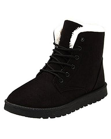 Minetom Damen Herbst Winter Schnür Boots Schuhe Stiefel mit Warm Gefüttert Schlupfstiefel Stiefelette Bootsschuhe Schwarz EU 40