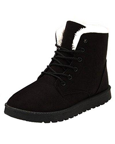Minetom Femme Hiver Suede Neige Cheville Flat Boots Chaudes Fourrure Chaussures Lace Up Sneaker
