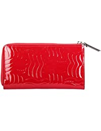 Cross® Women's 100% Genuine Leather Zip Around Wallet with Gusset-Red