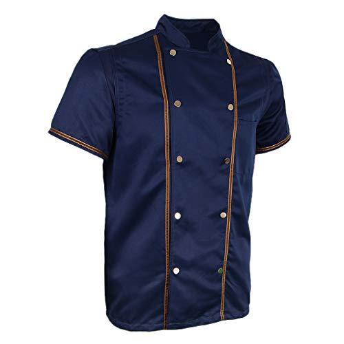 F Fityle Kurzarm Kochjacke Bäckerjacke Chef Jacke Restaurant Koch Arbeitskleidung Gastro Kochbekleidung für Männer Frauen - Schwarz, L - 5