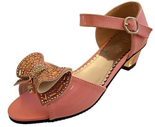 Filles Fête D'enfants Talons Demoiselle D'honneur Fille Aux Fleurs Sandales Chaussures De Communion Rose