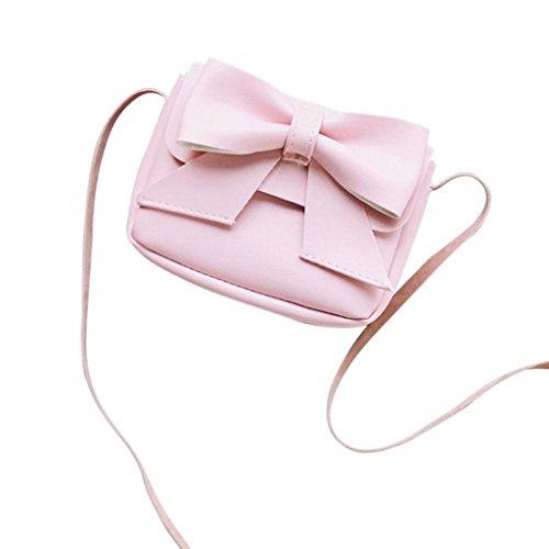 Rovinci Kinder Mädchen Schultertasche Jungen Süß Klein Nette mit Bowknot Leder(PU) Handtasche Mini Umhängetasche Hasp Schulterbeutel Cross-Body Taschen (Rosa)