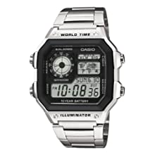 Casio Men's Watch in Resin/Stainless Steel with World Time Function and Long Battery Life - Water Resistant