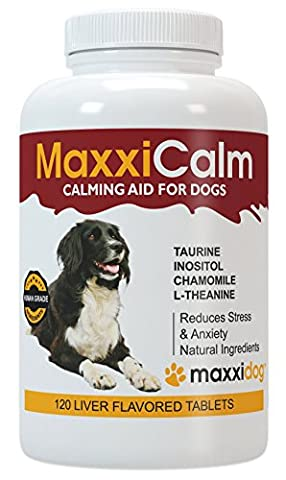 MaxxiCalm Calming Aid for Dogs with Canine Behaviour Training Guide - Stress and Anxiety Relief - Non-Drowsy - 120