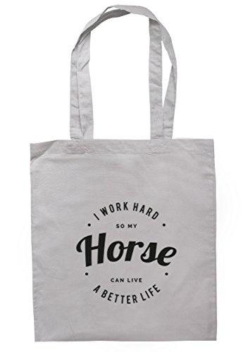 breadandbutterthreads i lavori rigida So My Horse può vivere una vita migliore Borsa 37,5cm x 42cm con manici lunghi Light Grey