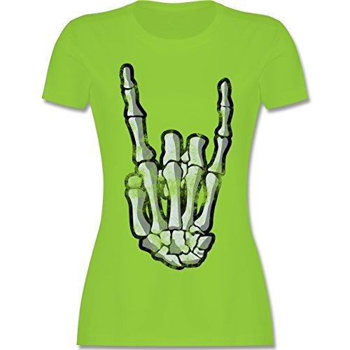 Shirtracer Metal - Metal Horns Skelett Hand - Damen T-Shirt Rundhals Hellgrün
