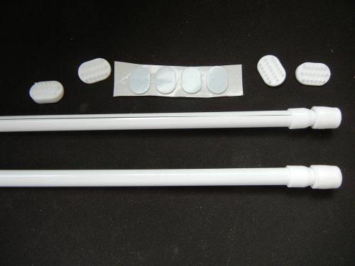 2 Stück Gardinia Klemmstange für Kunststofffenster, Farbe weiß , ausdrehbar von 35 cm - 45 cm