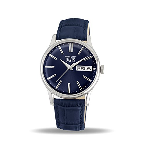 Davis 2092 - Mens Classic Watch Retro Blue Dial Day/Date Blue Leather Strap