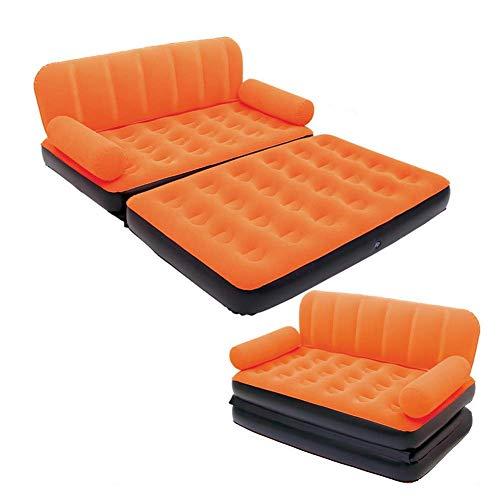 Aufblasbares Bett, Aufblasbare Schlafcouch Nach Hause Aufblasbarer Stuhl Eingebaute Kissen Wasserdichte Outdoor Strand Freizeit Indoor Faltbar Mit Luftpumpe für Familienfeiern ( Farbe : Orange ) -