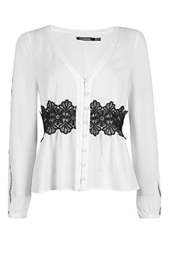 Bouton Version Blanche Femmes Maria Crochet + Ladder Par Blouse Blanc