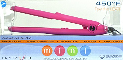 H2PRO Beauty Life Professional Silk Styling Mini (8 inch) Iron Color Pink