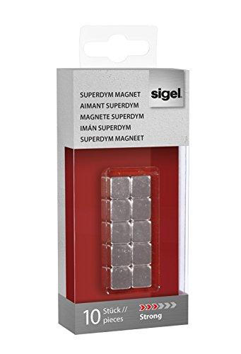 Sigel GL193 SuperDym-Magnete Cube, 10er-Set für Glas-Magnettafeln - viele Designs/Stückzahlen