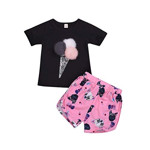 Zegeey MäDchen Baby Bekleidungssets Outfits Drucken Tops T-Shirts Tee Blusen Bowknot Shorts Set Geburtstag Geschenk SchöN(Schwarz,110-120cm)