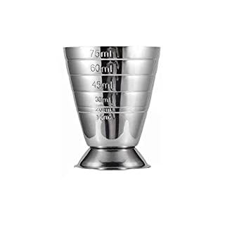 Rekkles 75ML Stainless Steel Scale Measuring Jigger Cocktail Wine Drink Shaker Pub Bar Cup Tumblerful Stoup